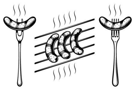 Grilled sausages on grill grate. Bavarian sausages on fork. Traditional food on Oktoberfest. Black and white vector illustration in retro inked style from vintage engraved strokes for tattoo or print.
