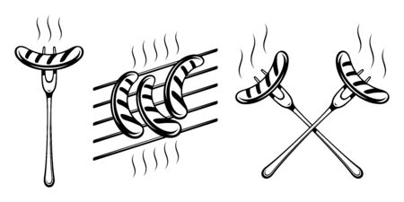 Bavarian grilled sausage on fork and on grill grate. Forks with sausages are crossed. Traditional german food on Oktoberfest. Black and white monochrome vector illustration in retro inked print style