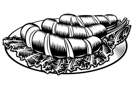 Grilled incised sausages with leaf lettuce on a plate. Traditional beer snack in restaurants and pubs on Oktoberfest. Black and white vector hand drawn illustration in retro inked engraved comic style Ilustração