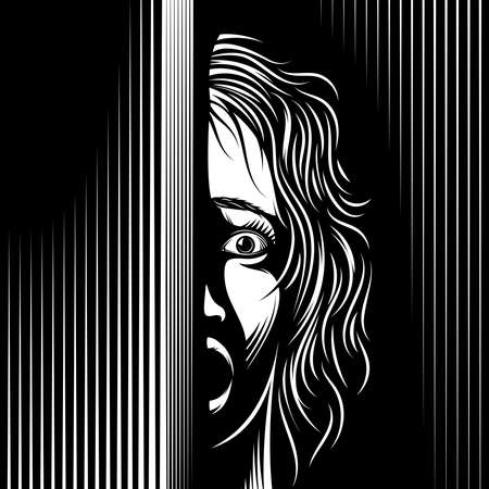Scared Woman looks from the dark. Eyes, mouth are open with fear. Domestic violence against women, violation of women's rights. Vector black and white illustration in engraved retro noir comics style