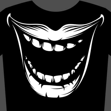 Open mouth with teeth. Snide evil smiling mouth. Graphic black and white art print design for t-shirt. Vector illustration in vintage hand drawing monochrome ink retro style for stamp, imprint, tattoo