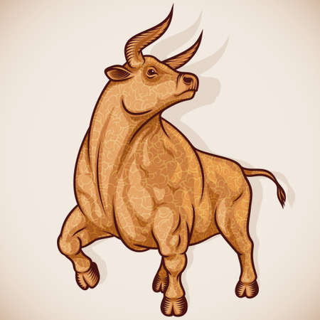 Ox or Taurus is sign of zodiac of New Year. Strong, muscular proud Bull is decorated of curly wool. Animal character for mascot, poster, calendar design. Stroked drawing style vector illustration.