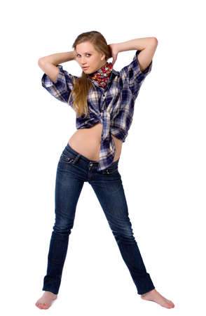portrait of country-girl in chequered shirt on white background Stock Photo - 7317854