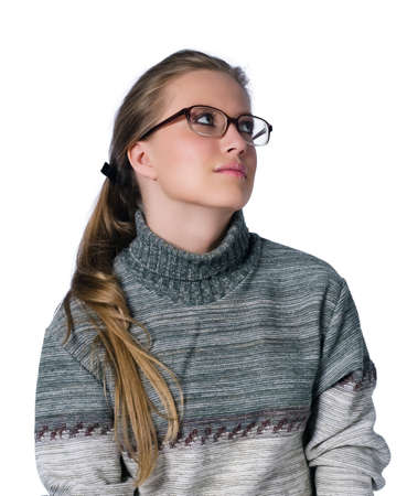 intent looking girl in glasses on white background Stock Photo
