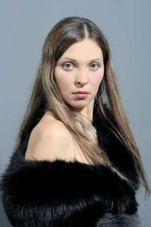 woman in black fur Stock Photo