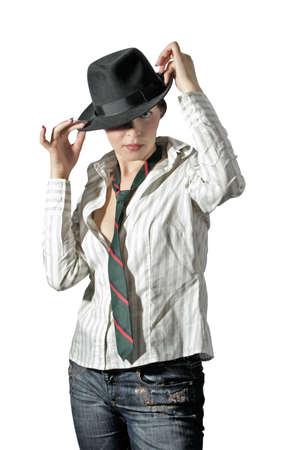 felt: gangster-style woman in felt on white background