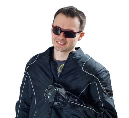 portrait of laughing biker. white background