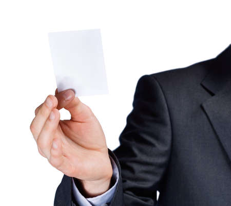 a human hand with blank card photo
