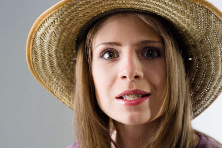 close-up of smiling girl in hat Stock Photo - 8632434