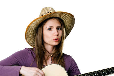 junges M�dchen Gitarre zu spielen. isolated on white background Lizenzfreie Bilder