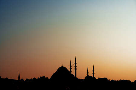 minarets: Mosques and minarets in Istanbul. Evening silhouettes. Stock Photo