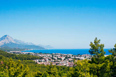 view of the town of Kemer and sea from a mountain  Turkey Stock Photo