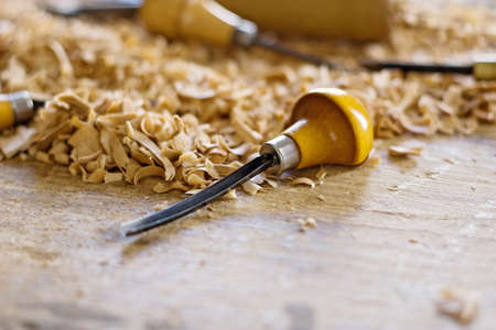Tool for working wood lying among chips