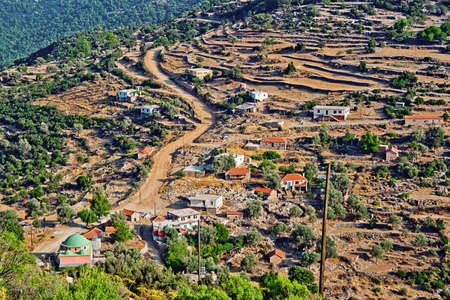 Top view of a Turkish village in the mountains photo