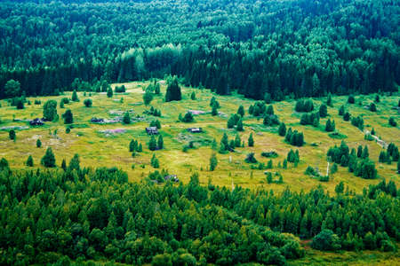 Top view of an abandoned village in the Russian taiga