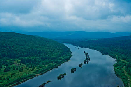 Top view of the booms on the Vishera river in the Ural mountains photo