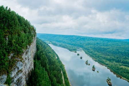 View of the Vishera river from the Vetlan cliff  Perm Krai  Russia  Stock Photo
