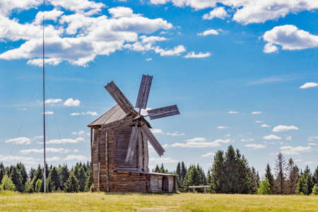 Old wooden windmill in the village Ludorvay. Udmurtia. Russia