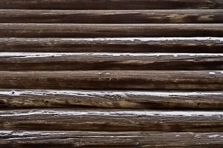 wood log: Close-up of the wall of the old pine logs Stock Photo
