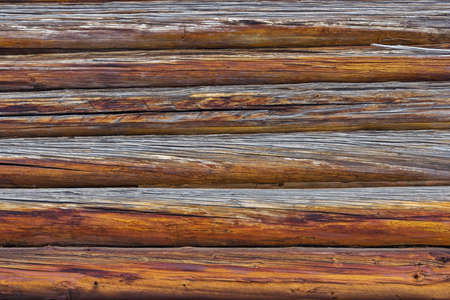 Close-up of the wall of the old pine logs Stock Photo