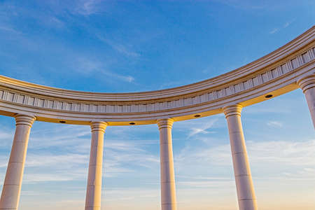 View of the sky through the colonnade of the rotunda