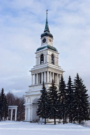 Winter view of the bell tower in the town square of Slobodskoy. Russia.