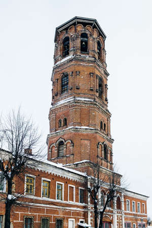 The old bell tower of red brick in Slobodskoy Stock Photo