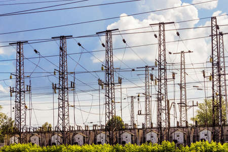 Power transmission towers at the substation railway