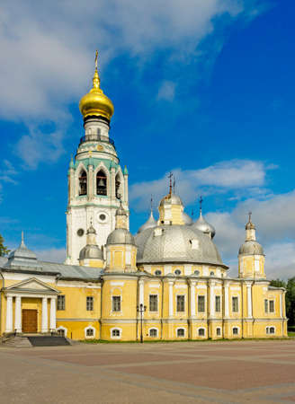 Resurrection Cathedral and Bell Tower of St. Sophia Cathedral in the Kremlin in Vologda. Russia