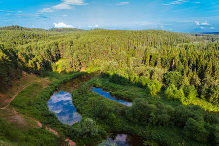 overhand: Aerial view overhand the green forest and river