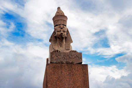 past civilizations: The Egyptian sphinx on the Neva embankment in Saint Petersburg. Russia