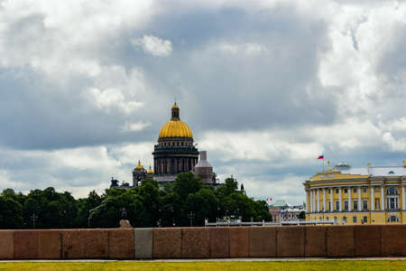 neva: Isaacs Cathedral and the Neva Embankment in Saint Petersburg. Russia