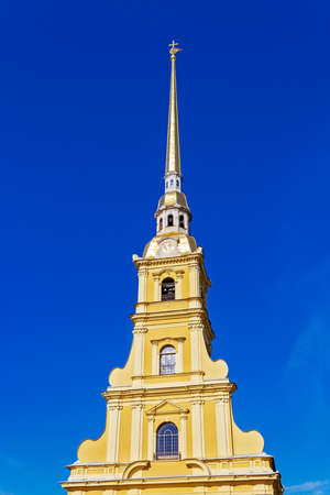 spire: The spire of the Peter and Paul Cathedral in Saint Petersburg. Russia Stock Photo