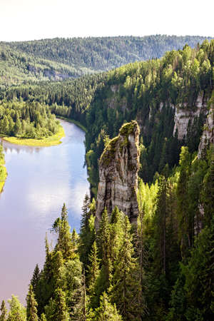 urals: Usvinskie pillars rocks on the river Usva. Urals. Russia