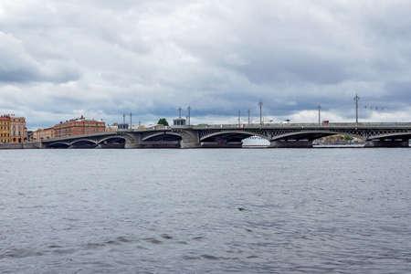 blagoveshchensky: Blagoveschensky bridge on the Neva River in Saint Petersburg on a cloudy day