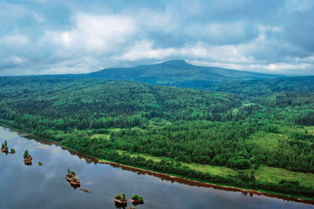 View of the Polyud mountain and the river Vishera from height Stock Photo