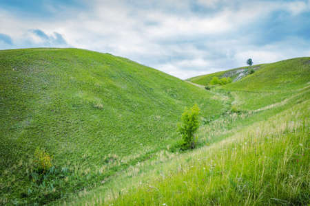 Green grassy hills on a cloudy day. No people Stock Photo