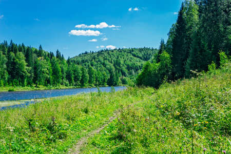 River flowing among the hills in woodland. No people Stock Photo