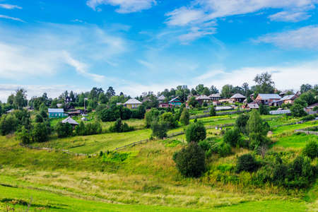 View of the Russian village summer day Stock Photo
