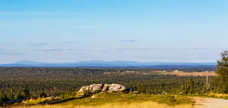 Panoramic view of the taiga and the Ural Mountains in the distance