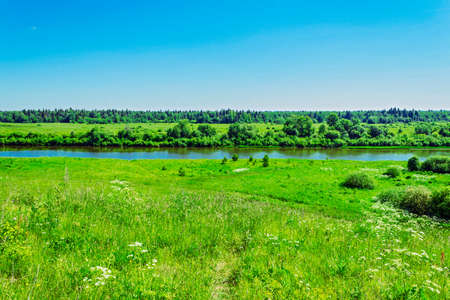 View of the river Cheptsa in summer day Stock Photo