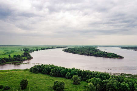 The confluence of the rivers Kama and Totma on a rainy summer day