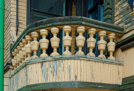 old wooden railing