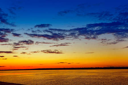 Summer landscape with sunset over the Volga river Stock Photo