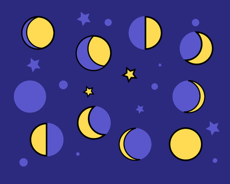 Yellow moon phases on a dark blue background. Vector Illustration