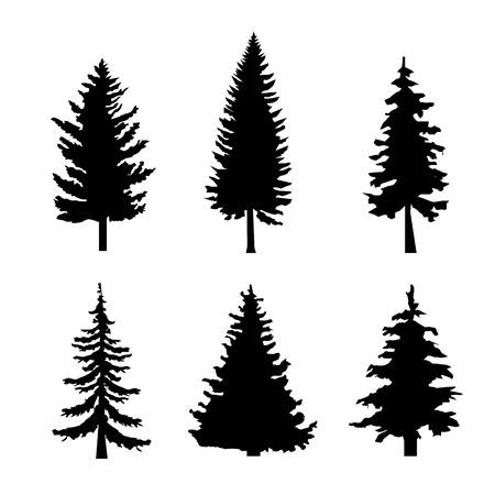 白背景のベクトル図に黒シルエットの松の木のセット  イラスト・ベクター素材