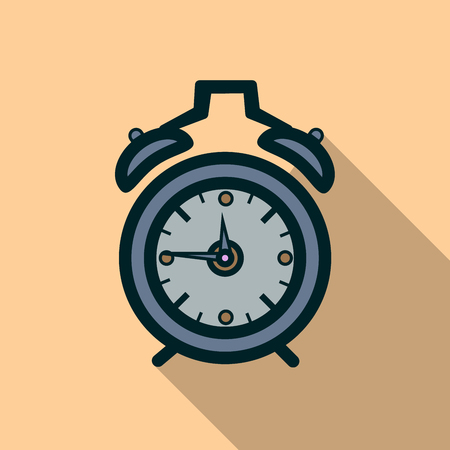up time: Alarm clock icon with long shadow. Flat design style. Clock silhouette. Simple icon. Modern flat icon in stylish colors.