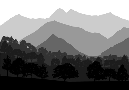 Panorama of mountains and forest landscape. Geometric vector illustration Фото со стока - 81695213