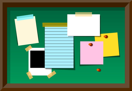 paper sheet: Message board With Blank Notes and Stickers. Vector Illustration