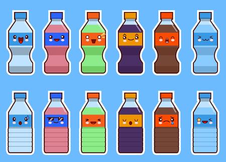 aluminum: Set of kawaii bottle of soda and water. Flat design Vector Illustration Illustration